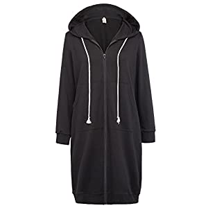 GRACE KARIN Women's Casual Pockets Zip up Hoodies Tunic Sweatshirt Long Hoodie Jacket