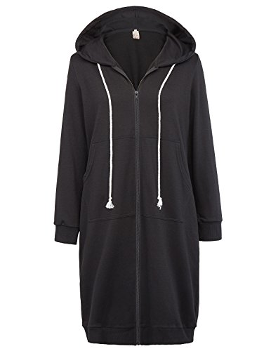 GRACE KARIN Ladies Long Sleeve Hoodies Sweatshirt Winter Hooded Jacket Black Size S CL612-1 (Black Jumper Long)