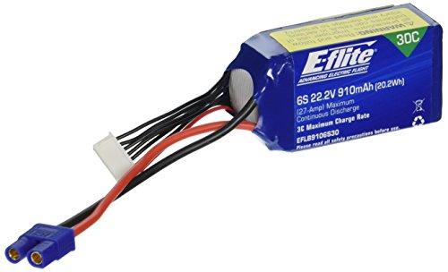 E-flite 22.2v 910mAh 6S 30C LiPo: EC3, EFLB9106S30