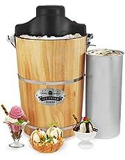 Elite Gourmet EIM916 Old Fashioned 6 Quart Vintage Appalachian Wood Bucket Ice Cream Maker, Black