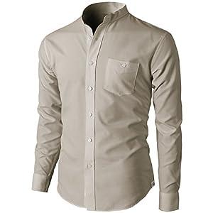 H2H Mens Fashion Slim Fit Oxford Mandarin Collar Solid Sport Shirt Beige US M/Asia XL (KMTSTL0501)