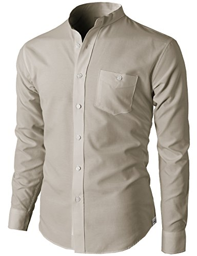 d4b58cc1080 H2H Men s Casual Slim Fit Oxford Mandarin Collar Button-Down Shirt with  Pocket Beige US L Asia 2XL (KMTSTL0501)