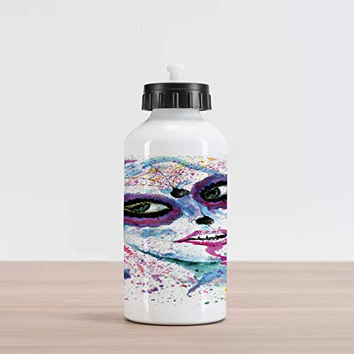 Ambesonne Ethnic Aluminum Water Bottle, Grunge Halloween Lady with Sugar Skull Make Up Creepy Dead Face Gothic Woman Artsy, Aluminum Insulated Spill-Proof Travel Sports Water Bottle, Purple -