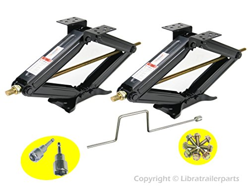 Set of 2 5000 lb 24' RV Trailer Stabilizer Leveling Scissor Jacks w/handle