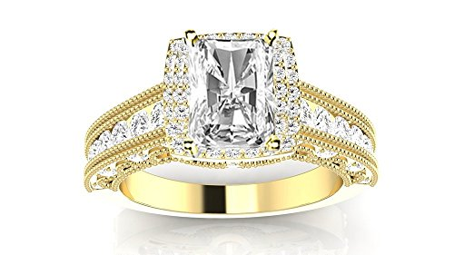 1.77 Carat GIA Certified 14K Yellow Gold Vintage Halo Radiant Cut Diamond Engagement Ring Milgrain (1.02 Ct G Color VS2 Clarity Center) ()