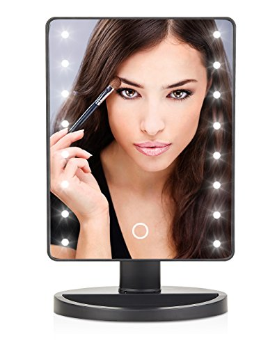 LED Lighted Makeup Mirror With 16 Led Lights Touch Screen Dimmable Brightness180 Rotation USB Battery Double Charge Countertop Cosmetics for Women Teen Girls Juniors ()