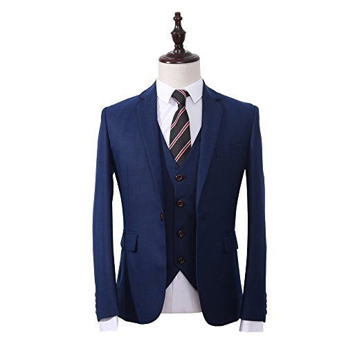 YFFUSHI Men's Classic 3-Piece Navy Suit Slim Fit One Button Solid Color Tuxedo - Brothers Style Blues Suit