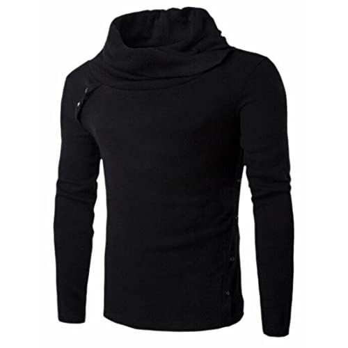 Cheap FLCH+YIGE Mens Solid Pile Collar Long Sleeve Knit Pullover Sweaters Tops free shipping