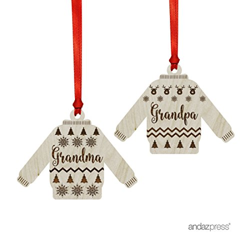 Andaz Press Funny Laser Engraved Wood Christmas Ornament with Gift Bag, Ugly Sweater Grandma Grandpa, Sweater Shape, 2-Pack