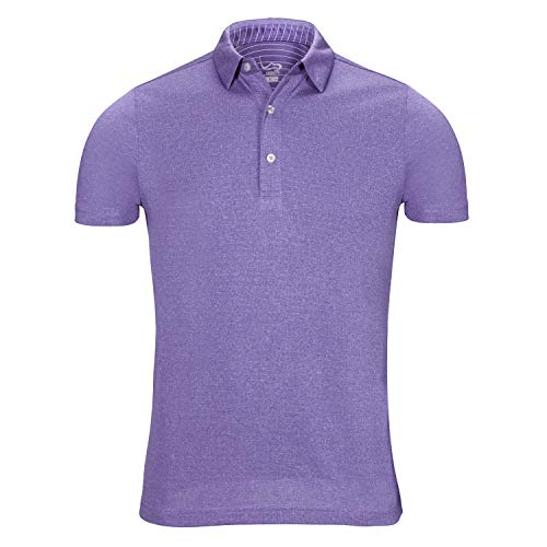 EAGEGOF Regular Fit Men's Performance Polo Shirt Stretch Tech Golf Shirt Short Sleeve Purple Heather