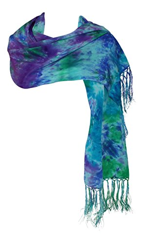 Ladycrow Stunning Peacock Crepe De Chine Scarf with Fringe in Blue Green & Purple