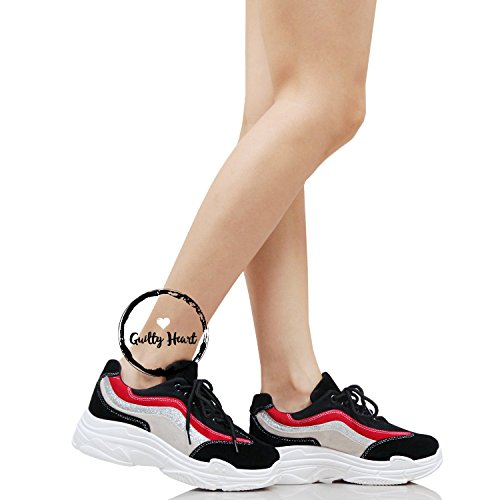 Fashion Black Heart Walking Womens Guilty Retro Sneakers Multimaterial Platform Daddy 3 Comfortable 1qWw4B