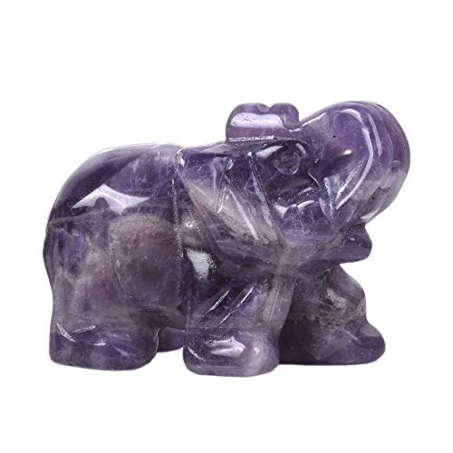 Justinstones Carved Natural Amethyst Elephant Healing Guardian Statue Figurine Crafts 2 inch