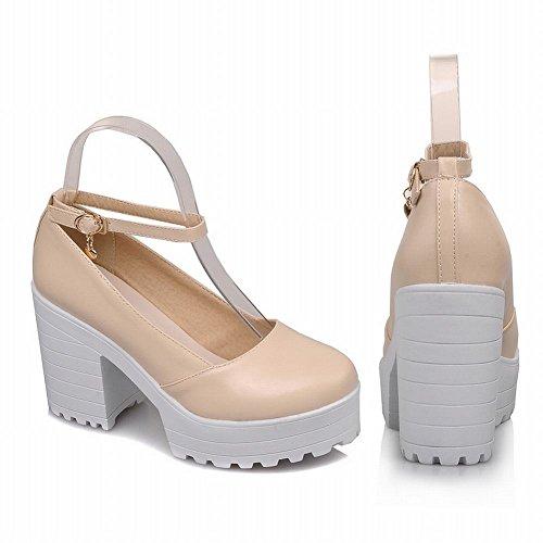 Mee Shoes Damen Chunky Heels Ankle Strap Plateau Pumps Beige