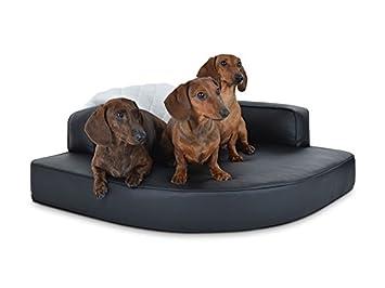 Cama de esquina para perros, perros, perros sofá cojín, piel sintética NEGRO, también ortopédica: Amazon.es: Productos para mascotas