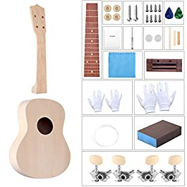 DIY Ukulele Kit with Installation Tools Wooden Small Hawaiian Guitar Ukalalee for Kids Students Beginners 21inch