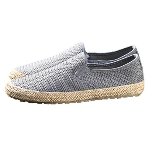 Paja Tela Pekín Viejos Gris Verano Ocio Shoes Canvas Respirable Zapatos Juventud Hombres De Perezoso Para Lienzo Pescador 6z4Oq