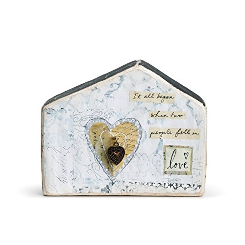DEMDACO Love Together Patchwork Print Small Plaster Molded House -