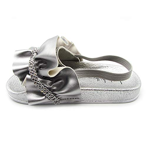 Nicole Miller New York Toddler and Little Girls Jeweled Slide Sandals - Size 5 Silver -