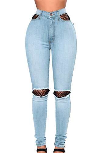 Sexy Pertul Medium haute Taille Jeans en Bleu Splice Femmes Taille Ltd rsille clair ErFqWfArB
