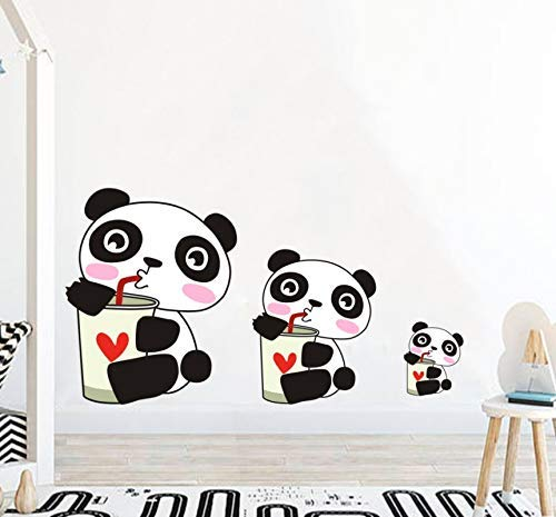 HSQMM Cartoon Panda Color Wall Stickers for Kids Rooms Baby Nursery Lovely Animals Wall Decals Sticker Mural Art Home Decor