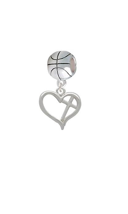 Abalorio charm CRUZ de corazón contorno con Diagonal - baloncesto ...