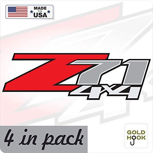 Chevy Z71 Decals - GOLD HOOK 4 - Z71 4x4 F Chevy 07-13 Decal Sticker Parts for Silverado GMC Sierra Truck