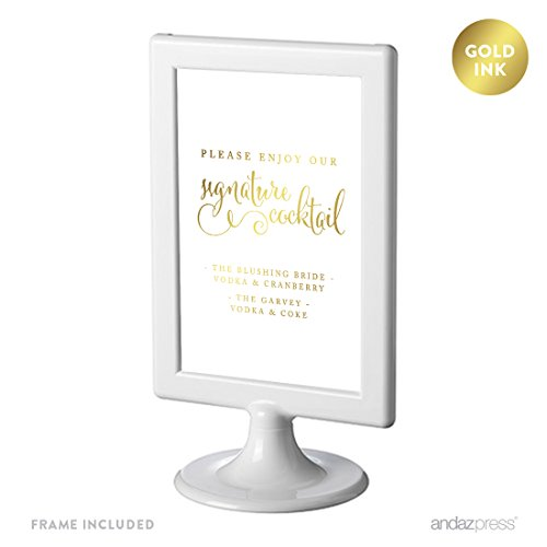Andaz Press Personalized Framed Wedding Party Signs, Metallic Gold Ink Print, 4x6-inch, Please Enjoy Our Signature Cocktail, 1-Pack, Custom Made Any Name, Includes Frame