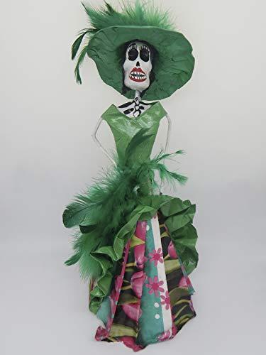 Los Mache Paper Muertos De Dia - COLOR Y TRADICIÓN Mexican Catrina Doll Day of Dead Skeleton Paper Mache Dia de Los Muertos Skull Folk Art Halloween Decoration # 1601