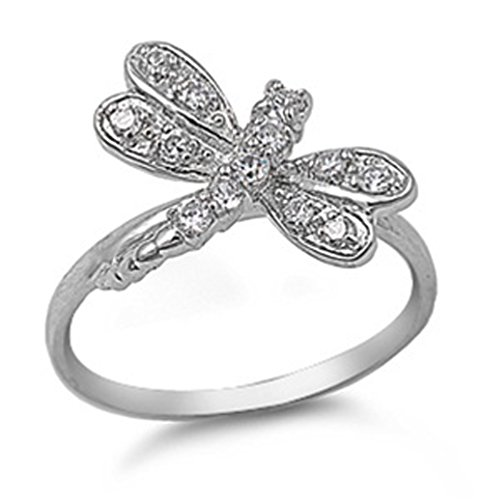 (White CZ Dragonfly Animal Wing Cute Ring .925 Sterling Silver Band Size 11)