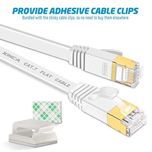Cat7-W25 Cat 7 Flat Ethernet Cable 25ft White,High Speed 10GB Shielded 25 feet White STP 7.6 Meters LAN Internet Network Cable-XINCA Ethernet Patch Computer Cable with Snagless Rj45 Connectors
