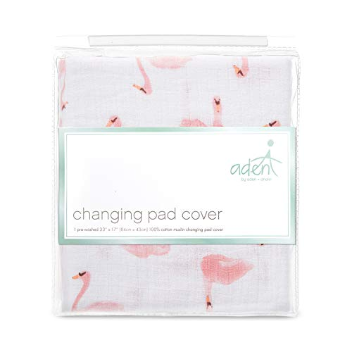 aden + anais Essentials Changing Pad Cover, 100% Cotton Muslin, Super Soft, Breathable, Tailored Snug Fit, Single, Briar Rose - Swans