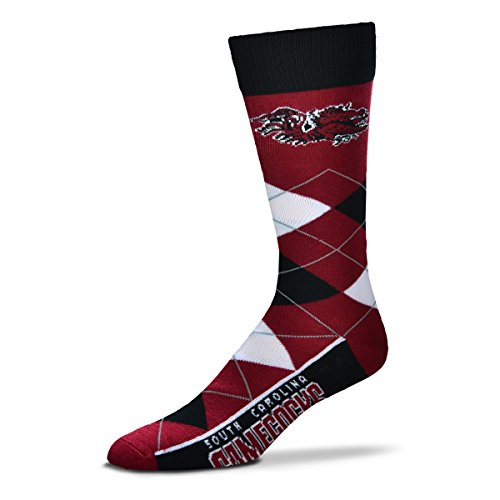 For Bare Feet NCAA Argyle Lineup Unisex Crew Dress Socks-One Size Fits Most-South Carolina Gamecocks South Carolina Football