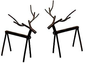 """6.25"""" Cast Iron Brown Metal Deer Figures - Set of 2"""
