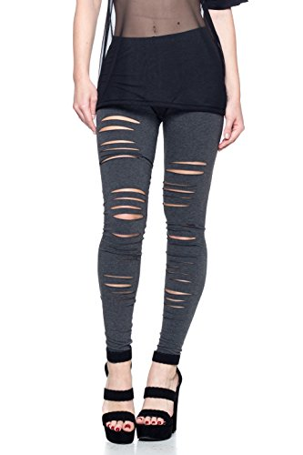 - J2 Love Made in USA Ripped Stretch Cotton Legging (up to 5X) Charcoal
