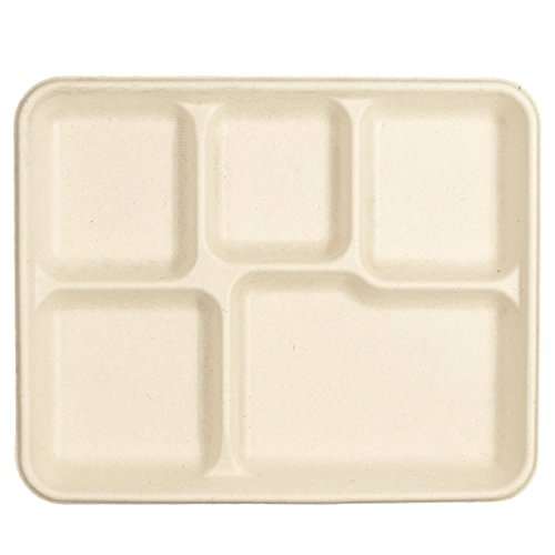 100% Compostable 5-Compartment School Lunch Tray 500-Count - Made of Sugar Cane Fiber Bagasse - Food Tray (Packed 4x125 Case) (Four Tray Compartment)