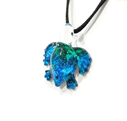 Handmade Ocean Blue Sea Turtle Art Glass Blown Sea Animal Figurine Pendant Necklace Jewelry - Model Y2016 by We Are Handmade Jewelry Art Glass Blown (Image #4)