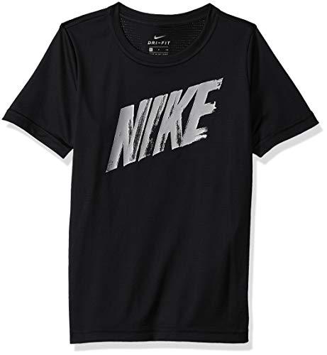 NIKE Boy's Dry Short sleeve Top, Black/White, Large