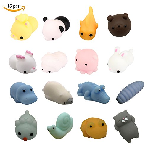 Febuy Squishies Toys - 16PCS Super Cute Squishies Mini Kawaii toys,Stress Reliever Animals Toys For Children and Grown-up