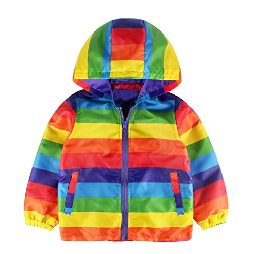 Moonper Toddler Kids Baby Grils Boys Long Sleeve Hooded Coat Rainbow Stripe Outfits Tops Outerwear Jacket with Zipper (5T, Multicolor)