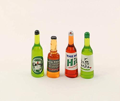 nanguawu 4pcs Beer Wine Juice Bottles Cup 1:12 Liquor Drink Miniature Dollhouse Play Food Kitchen Toy