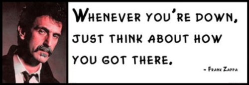 (Wall Quote - Frank Zappa - Whenever You're Down, Just Think About How You Got There. )