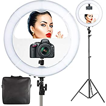 """Amazon.com : 18"""" LED Video Ring Light with Mirror, 6ft"""