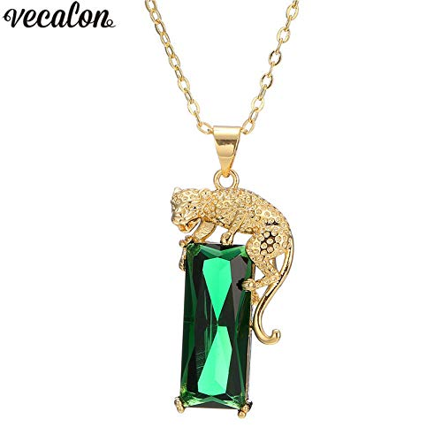 (Leopard Pendant Yellow Gold Filled Long Princess Cut Crystal Cz Party Wedding Pendants with Necklace for Women Jewelry)