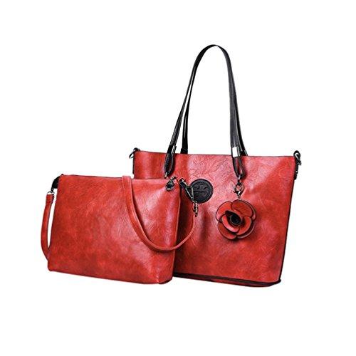 en PU Anguang Sac à Sac Bandoulière Épaule Cuir Main Capacité à Rouge Femme 2Pcs Grande Sac qwYSq8B