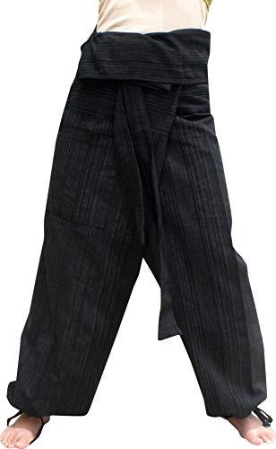 RaanPahMuang Premium Siams Cotton Fisherman Wrap Pants Full Feature Unique Pair, L/XL, Striped Cotton - Black