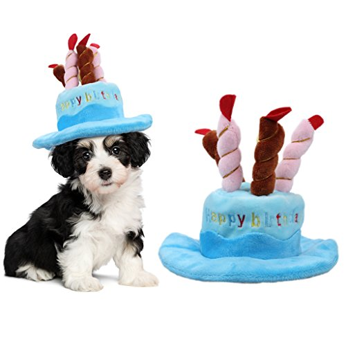 OWUDE Pet Birthday Hat, Cute Dog Birthday Hat with Cake & Candles Design for Cats and Puppy Party Costume Accessory (Blue) - Happy Birthday Puppy