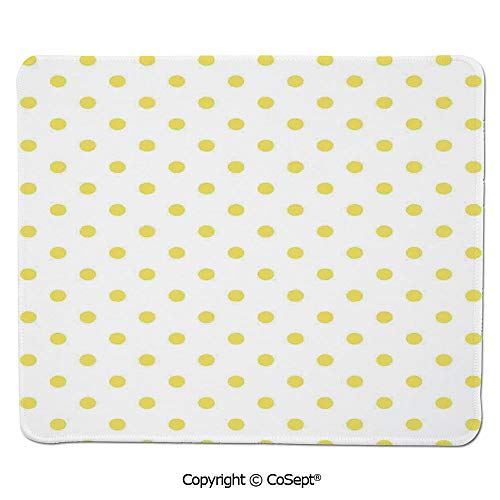 (Ergonomic Mouse pad,Retro Small Yellow Polka Dots on Plain Background Equally Sized Circle Pattern,for Laptop,Computer & PC (7.87
