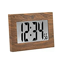 Marathon CL030064 Large Digital Wall Clock with Fold-Out Table Stand. Size is 9 inches with Big 3.25 Inch Digits. Batteries Included (Wood Tone)