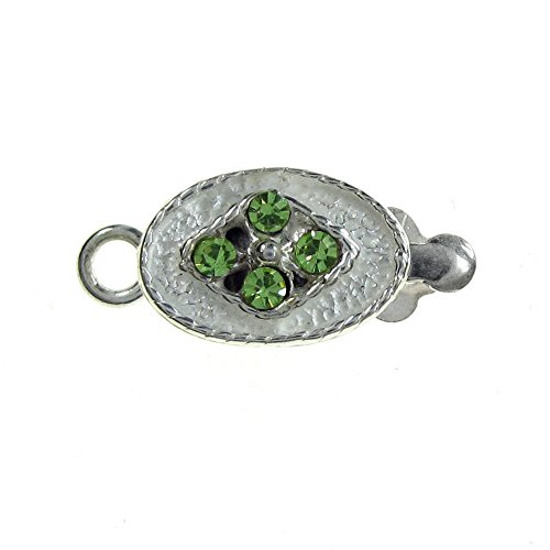 - 925 Sterling Silver Green Cz Crystal Oval 1 Strand Pearl Box Clasp 14mm